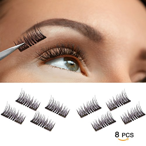 a06eb7b18c2 0.2mm Ultra Thin, 3D Fiber Reusable Best Fake Lashes, Natural Handmade  Extension Fake Eye Lashes, No Glue, 8 Pieces - Vassoul Magnetic False  Eyelashes