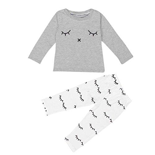 0cb0e760a Efaster Cute Baby Boy Girl Cute Eyelash Print T-shirt Tops+Pants ...