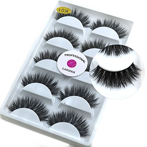 2e81be83d29 5 Pairs/Box 3D Real Mink False Eyelashes LASGOOS 100% Siberian Mink Fur  Luxurious Wispy Natural Cross Thick Long Fake Eye Lashes K01