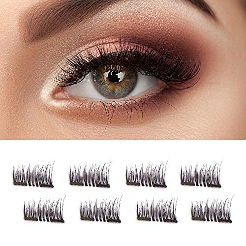 675fddac67c Double Magnetic False Eyelashes – Beautiful Natural Enhanced Eyes,  Volumized Lashes 4 Pair, 8 Pcs Black – No Glue Mess-Free Reusable