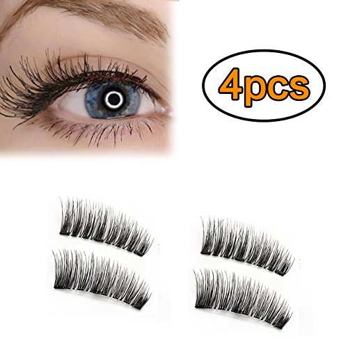 c833802a4ca AWSTECH 4 PCS Full Eye Magnetic Eyelashes, Triple Magnetic False Eyelashes, 0.2mm  Ultra Thin 3D Fiber Reusable Fake Lashes Extension, Long, Natural Look, ...