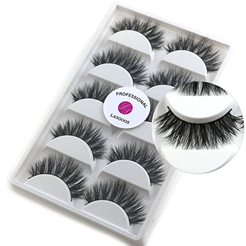 56f898bf647 5 Pairs/Box 3D Real Mink False Eyelashes LASGOOS 100% Siberian Mink Fur  Luxurious Wispy Natural Cross Long Hot Fake Eye Lashes Y7