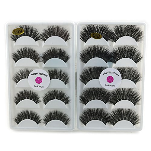 52e52bdb499 2 Pack 3D Real Mink Wispy False Eyelashes LASGOOS 100% Siberian Mink Fur  Luxurious Soft Cross Thick Very Long Wedding Party 10 Pairs Fake Eye Lashes  5 ...