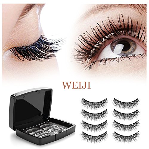 00bee577a1b Dual Magnets Natural False Eyelashes – 3D Reusable Full Eye Fake Lashes  Extensions – Thick Soft & Handmade Seconds to Apply2 Pair 8 Pieces –  Magnetic ...
