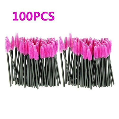 Makeup Brush,Sandistore 100pcs/lot make up brush Pink synthetic fiber One-Off Disposable Eyelash Brush Mascara Applicator Wand Brush 100 Pcs