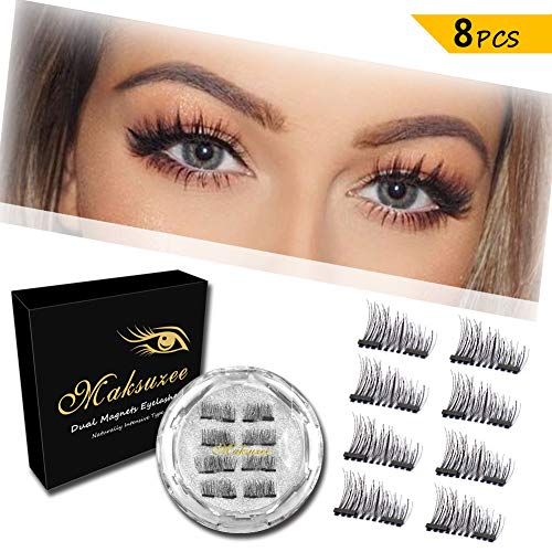 82ff0ac20fa Maksuzee Magnet Eyelashes Dual Magnetic False Eyelashes with NO GLUE,Fake  Lashes Extension for Natural Look 8 Pieces /2 pair