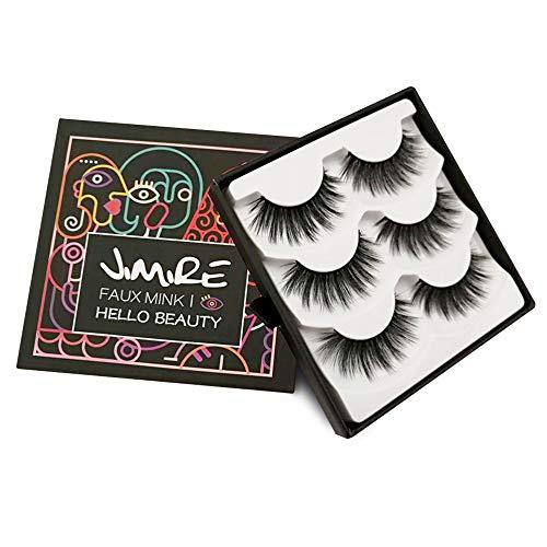 294f7fdfc66 JIMIRE False Eyelashes 3D Lashes Pack Fluffy Long Lashes Reusable Eyelashes  3 Pairs