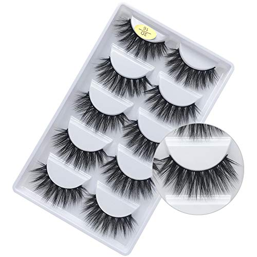 bf30265aa9e 3D Faux Mink Lashes Dramatic Long Natural Handmade Crossed Cluster False  Eyelashes 5 Pairs Dramatic